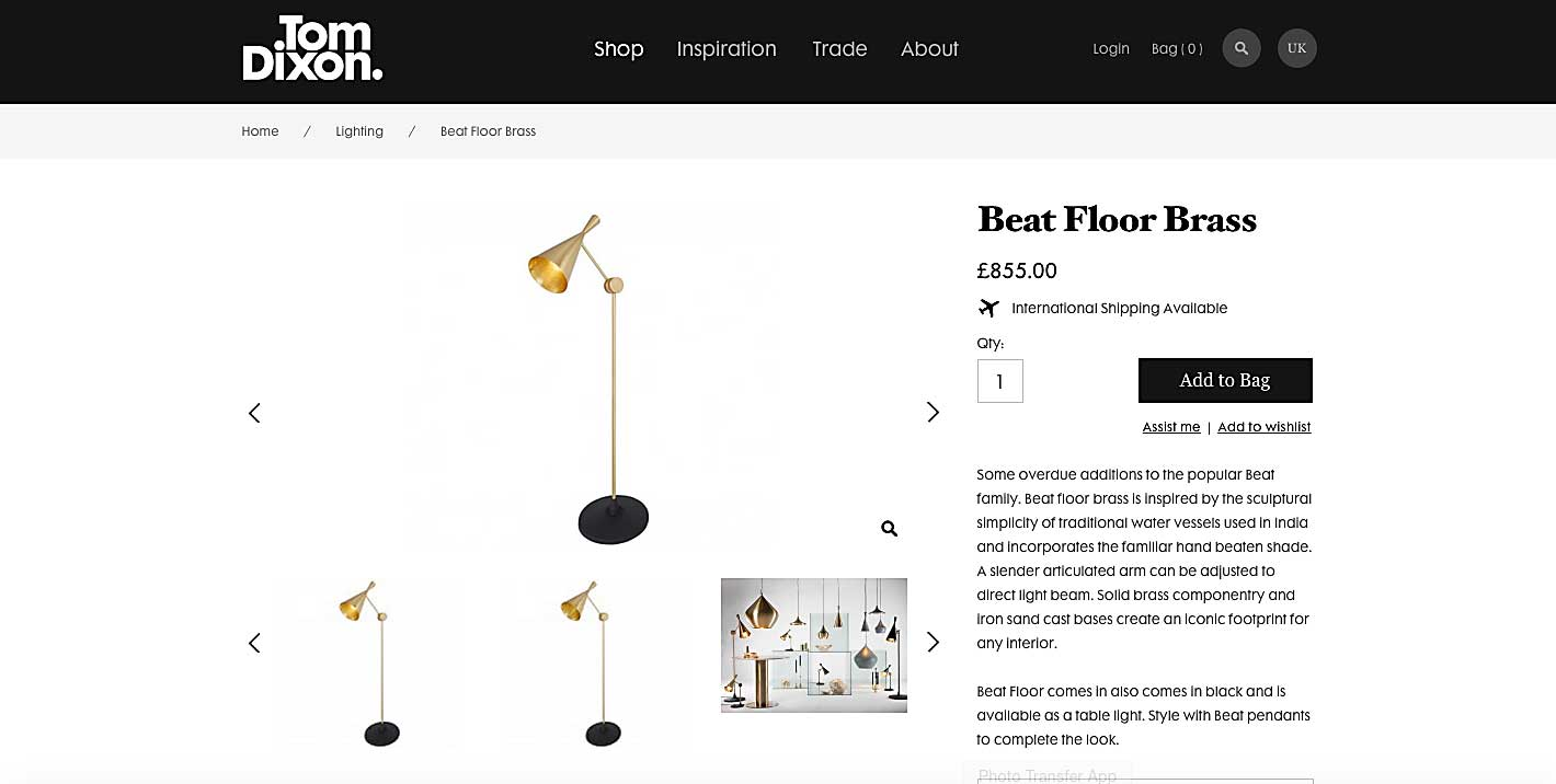 The Tom Dixon lighting eCommerce website